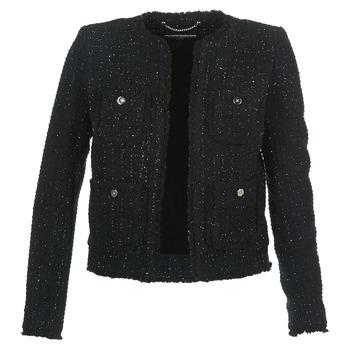 衣服 女士 外套/薄款西服 Michael by Michael Kors FRAY TWD 4PKT JKT 黑色 / 银灰色