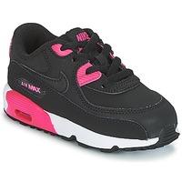 鞋子 女孩 球鞋基本款 Nike 耐克 AIR MAX 90 LEATHER TODDLER 黑色 / 玫瑰色