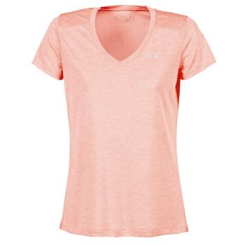 衣服 女士 短袖体恤 Under Armour 安德玛 TECH SSV - TWIST 珊瑚色