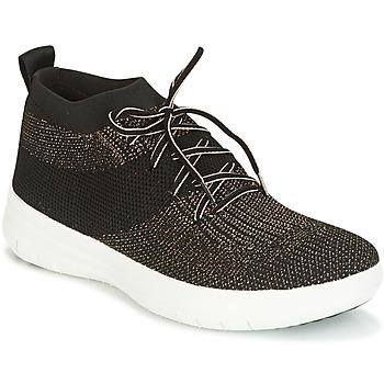 鞋子 女士 高幫鞋 FitFlop UBERKNIT SLIP-ON HIGH TOP SNEAKER 黑色 / 古銅色