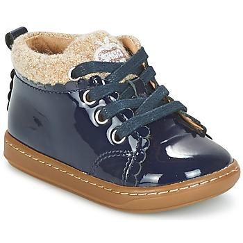 鞋子 女孩 短筒靴 SHOO POM by Pom d'Api BOUBA WOOL 海蓝色 / 米色