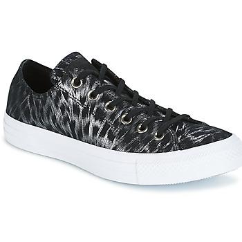 鞋子 女士 球鞋基本款 Converse 匡威 CHUCK TAYLOR ALL STAR SHIMMER SUEDE OX BLACK/BLACK/WHITE 黑色 / 白色