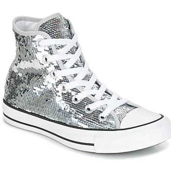鞋子 女士 高帮鞋 Converse 匡威 CHUCK TAYLOR ALL STAR SEQUINS HI SILVER/WHITE/BLACK 银灰色