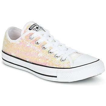鞋子 女士 球鞋基本款 Converse 匡威 CHUCK TAYLOR ALL STAR SEQUINS OX WHITE/BLACK/WHITE 白色 / 浅黄色