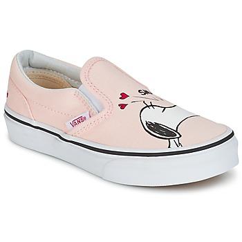 鞋子 女孩 平底鞋 Vans 范斯 TD CLASSIC SLIP-ON SNOOPY 玫瑰色