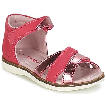 鞋子 女孩 凉鞋 Kickers GIGI 紫红色 / 玫瑰色 / 金属银