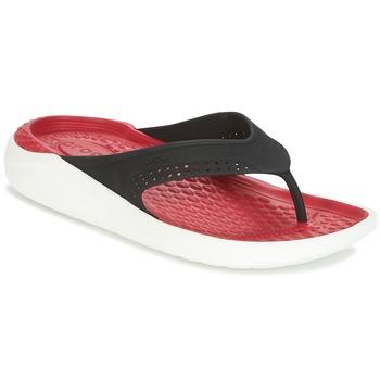 鞋子 人字拖 crocs 卡駱馳 LITERIDE FLIP 黑色 / 紅色