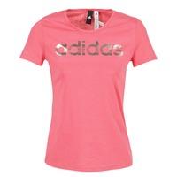 衣服 女士 短袖体恤 adidas Performance 阿迪达斯运动训练 FOIL LINEAR 玫瑰色