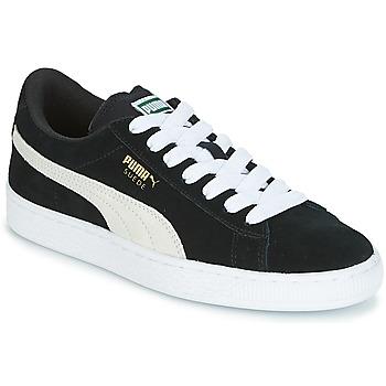 鞋子 兒童 球鞋基本款 Puma 彪馬 SUEDE JR 黑色 / 白色
