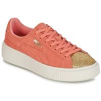 鞋子 女孩 球鞋基本款 Puma 彪马 SUEDE PLATFORM GLAM JR 橙色 / 金色
