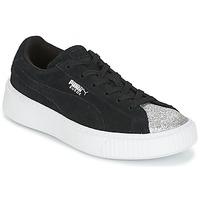 鞋子 女孩 球鞋基本款 Puma 彪马 SUEDE PLATFORM GLAM PS 黑色 / 银灰色