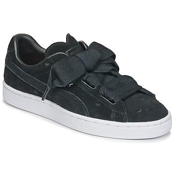 鞋子 女孩 球鞋基本款 Puma 彪马 SUEDE HEART VALENTINE JR 黑色