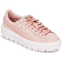 鞋子 女士 球鞋基本款 Puma 彪马 SUEDE PLATFORM TRACE W'S 米色