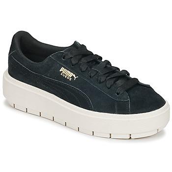 鞋子 女士 球鞋基本款 Puma 彪马 SUEDE PLATFORM TRACE W'S 黑色 / 白色