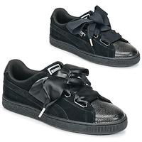 鞋子 女士 球鞋基本款 Puma 彪马 SUEDE HEART BUBBLE W'S 黑色