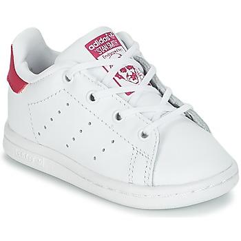 鞋子 女孩 球鞋基本款 Adidas Originals 阿迪达斯三叶草 STAN SMITH I 白色 / 玫瑰色
