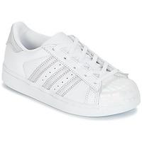 鞋子 女孩 球鞋基本款 Adidas Originals 阿迪达斯三叶草 STAN SMITH C 白色 / 银灰色