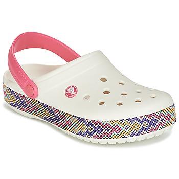 鞋子 女士 洞洞鞋/圆头拖鞋 crocs 卡骆驰 CROCBAND GALLERY CLOG 白色 / 玫瑰色
