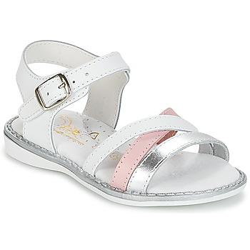 鞋子 女孩 凉鞋 Citrouille et Compagnie IZOEGL 白色 / 银色 / 玫瑰色