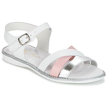 鞋子 女孩 凉鞋 Citrouille et Compagnie IZOEGL 白色 / 玫瑰色 / 银色