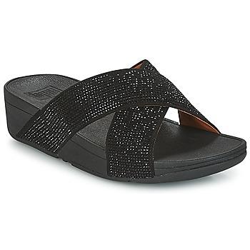 鞋子 女士 休閑涼拖/沙灘鞋 FitFlop CRYSTAL II SLIDE SANDALS 黑色
