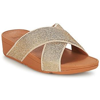 鞋子 女士 休閑涼拖/沙灘鞋 FitFlop CRYSTAL II SLIDE SANDALS 金色