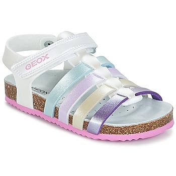 鞋子 女孩 凉鞋 Geox 健乐士 J N.S.ALOHA G. C 白色 / 多彩