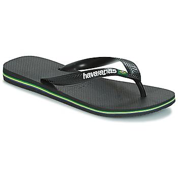 鞋子 人字拖 Havaianas 哈瓦那 BRAZIL LOGO 黑色