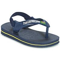 鞋子 男孩 人字拖 Havaianas 哈瓦那 BABY BRASIL LOGO 海蓝色 / 黄色