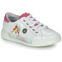 鞋子 女孩 高帮鞋 Catimini SYLPHE Vte / 白色-玫瑰色 / 白色