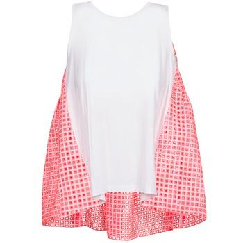 衣服 女士 无领短袖套衫/无袖T恤 Manoush AJOURE CARRE 白色 / 玫瑰色