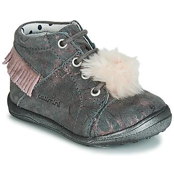 鞋子 女孩 高帮鞋 Catimini PEPITA 灰色 / 玫瑰色