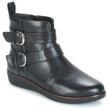 鞋子 女士 短筒靴 FitFlop LAILA DOUBLE BUCKLE 黑色