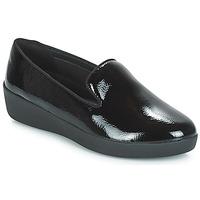 鞋子 女士 皮便鞋 FitFlop AUDREY SMOKING SLIPPERS CRINKLE PATENT 黑色