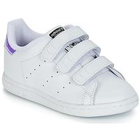 鞋子 女孩 球鞋基本款 Adidas Originals 阿迪达斯三叶草 STAN SMITH CF I 白色 / 银灰色