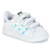 鞋子 女孩 球鞋基本款 Adidas Originals 阿迪达斯三叶草 SUPERSTAR CF I 白色 / 银灰色