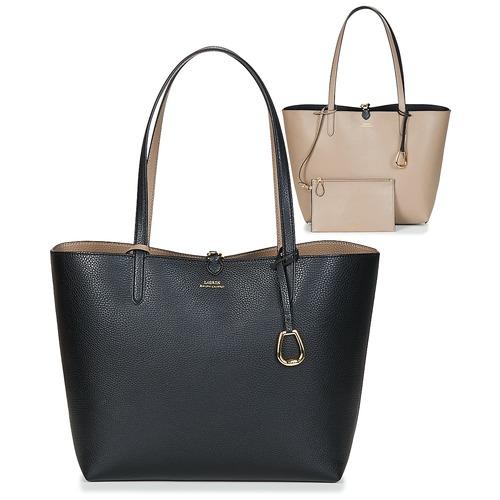 包 女士 购物袋 Lauren Ralph Lauren MERRIMACK REVERSIBLE TOTE MEDIUM 黑色 / 灰褐色