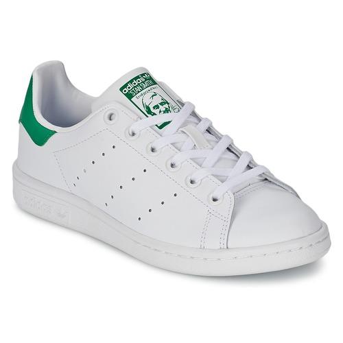 鞋子 儿童 球鞋基本款 Adidas Originals 阿迪达斯三叶草 STAN SMITH J 白色 / 绿色