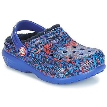 鞋子 儿童 洞洞鞋/圆头拖鞋 crocs 卡骆驰 CLASSIC LINED GRAPHIC CLOG K 蓝色