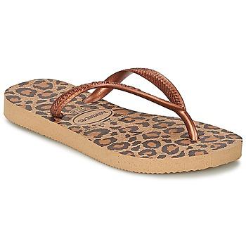 鞋子 女孩 人字拖 Havaianas 哈瓦那 SLIM ANIMALS 古銅色