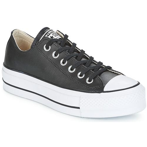 鞋子 女士 球鞋基本款 Converse 匡威 CHUCK TAYLOR ALL STAR LIFT CLEAN OX 黑色 / 白色