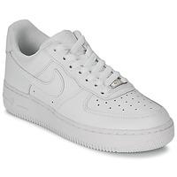 鞋子 女士 球鞋基本款 Nike 耐克 AIR FORCE 1 07 LEATHER W 白色