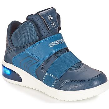 鞋子 男孩 球鞋基本款 Geox 健樂士 J XLED BOY 海藍色