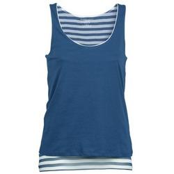 衣服 女士 无领短袖套衫/无袖T恤 Majestic BLANDINE 海蓝色 / 白色