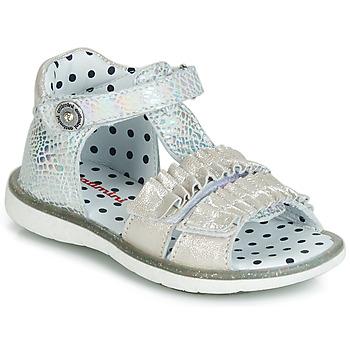 鞋子 女孩 涼鞋 Catimini BIRA 銀灰色 / 米色