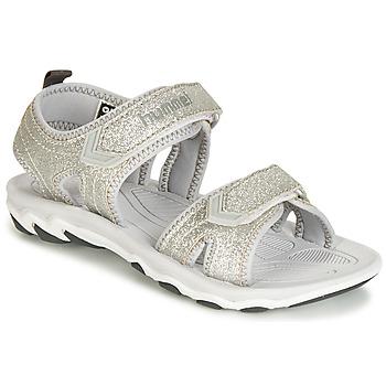 鞋子 女孩 凉鞋 Hummel SANDAL GLITTER JR 银灰色