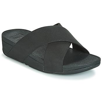 鞋子 女士 休闲凉拖/沙滩鞋 FitFlop LULU SHIMMERLUX SLIDES 黑色